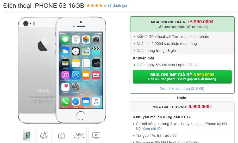 Tết Dương lịch, iPhone 5s tiếp tục được giảm giá sốc 1