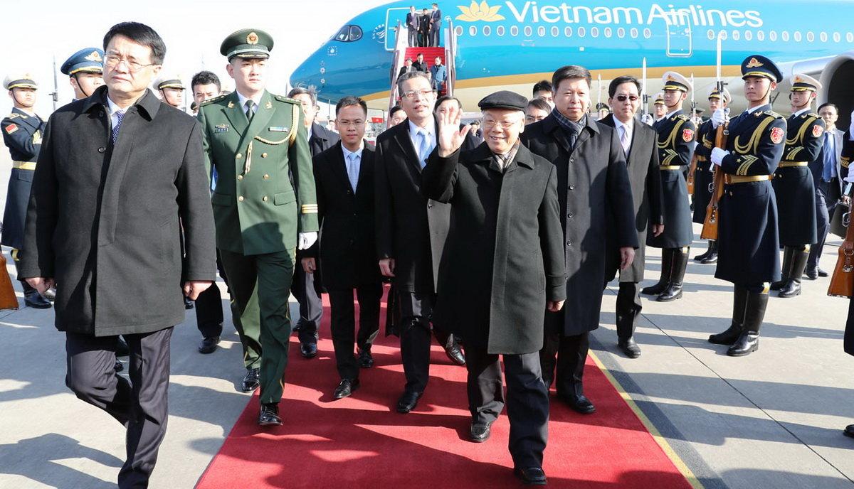Lễ đón Tổng Bí thư Nguyễn Phú Trọng tại sân bay Bắc Kinh 1