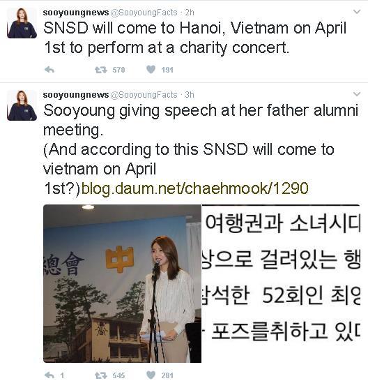 Sooyoung lên tiếng xác nhận SNSD sẽ đến Việt Nam vào đầu tháng 4 2
