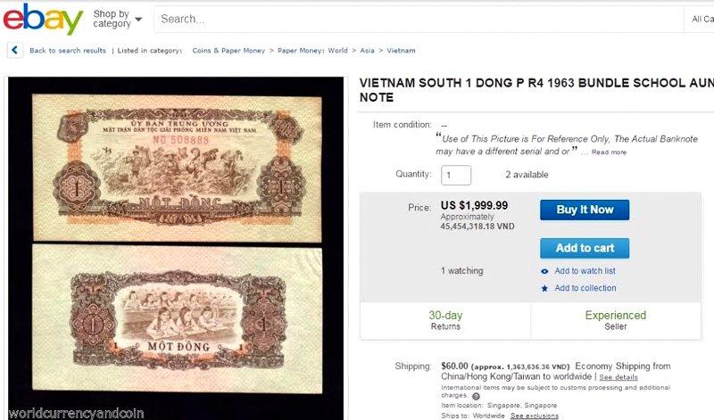 Khó tin tờ 1 đồng Việt Nam có giá bán 45 triệu đồng