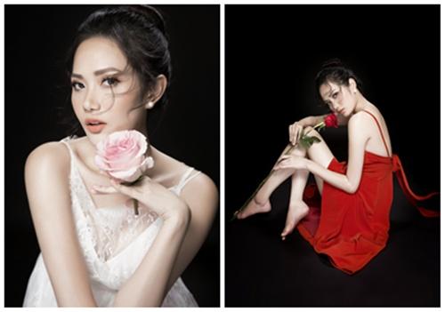 """Giải trí -  Hoa hậu Diệu Linh """"mượn"""" cánh hoa hồng khoe vẻ đẹp gợi cảm"""
