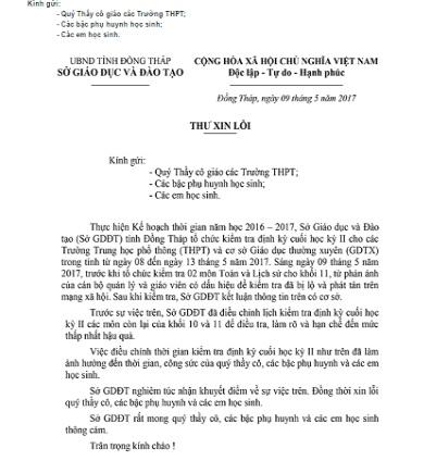 Sự cố lộ đề thi: Giám đốc Sở GD-ĐT Đồng Tháp viết thư xin lỗi 1