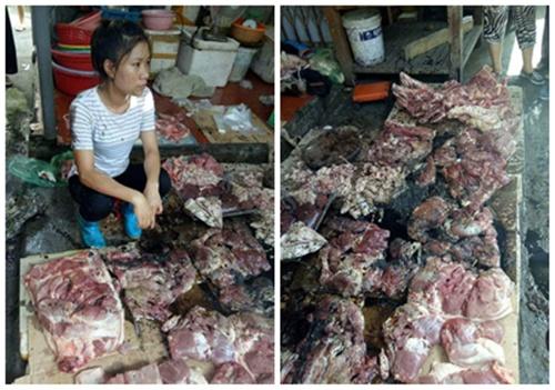 Chen chân mua thịt lợn của người phụ nữ bị hất luyn và chất thải 1