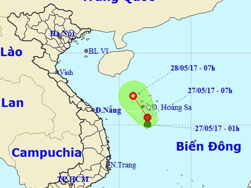Xuất hiện áp thấp trên Biển Đông 1