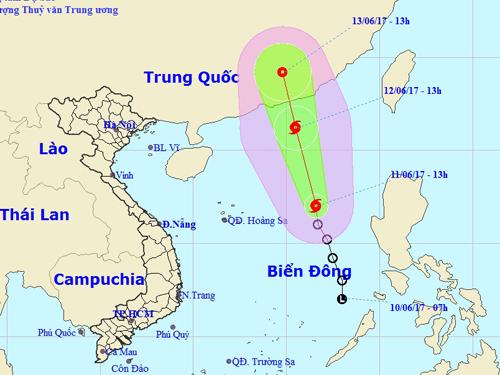 Áp thấp nhiệt đới trên Biển Đông mạnh lên thành bão số 1 1