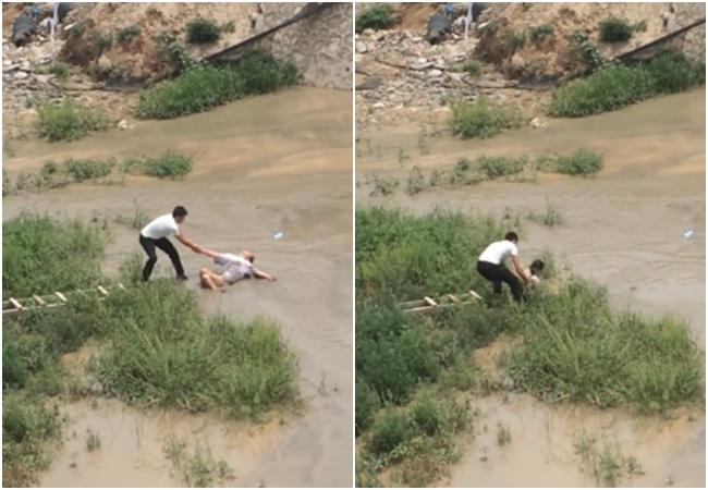 Cô gái quằn quại đòi tự tử ở vùng nước ngập chưa đến đầu gối 1