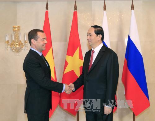 Chủ tịch nước Trần Đại Quang hội kiến Thủ tướng Nga Dmitry Medvedev 1