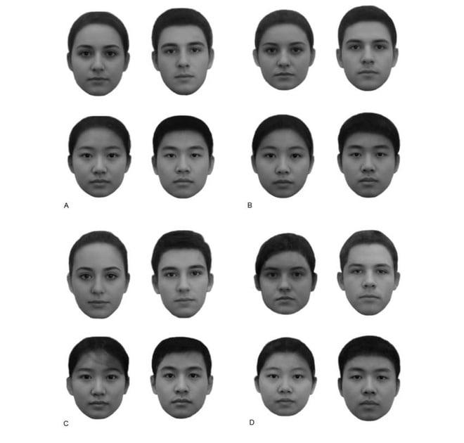 A và C là những khuôn mặt giàu hơn người thường, còn B và D là nghèo hơn
