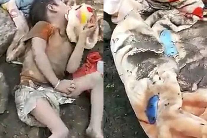 Hình ảnh bé gái 4 tuổi nằm thoi thóp trong đống rác gây phẫn nộ 1