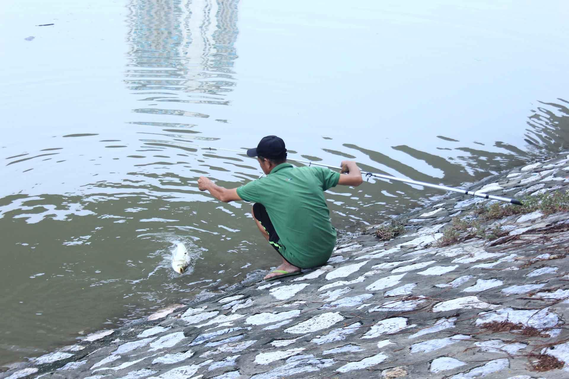Hình ảnh Tan bão, người dân Thủ đô vác ngư cụ ra sông Tô Lịch bắt cá số 2