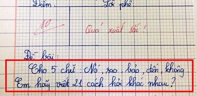 """Cô giáo tìm ra """"thần đồng"""" của lớp chỉ với bài kiểm tra 5 chữ tiếng Việt 1"""