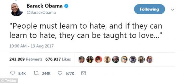 Cựu Tổng thống Mỹ Barack Obama đã xô đổ kỷ lục trên Twitter với dòng tweet nổi tiếng nhất mọi thời đại 2