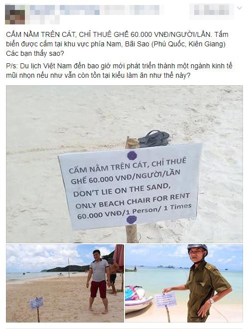"""Tấm biển """"cấm nằm trên cát"""" ở biển Phú Quốc khiến du khách bức xúc 1"""