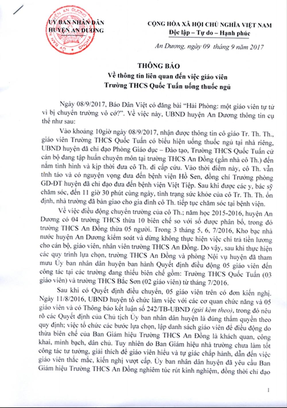 Vụ giáo viên tự tử vì bị điều chuyển: Huyện An Dương khẳng định làm đúng quy trình 1