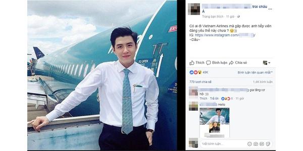 """Vì quá đẹp trai, """"hot boy hàng không"""" hãng Vietnam Airlines bỗng nhiên nổi tiếng sau 1 đêm 1"""