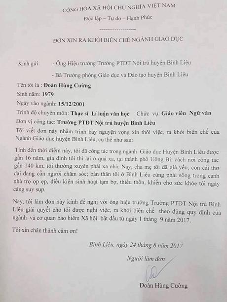Hình ảnh Vụ thầy giáo xin ra khỏi biên chế ở Quảng Ninh: UBND huyện Bình Liêu lên tiếng số 1