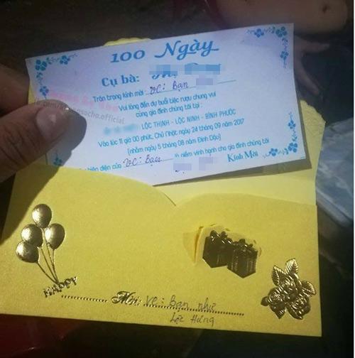 Tấm thiệp mời 100 ngày mất cụ bà ở Bình Phước gây tranh cãi cư dân mạng 1