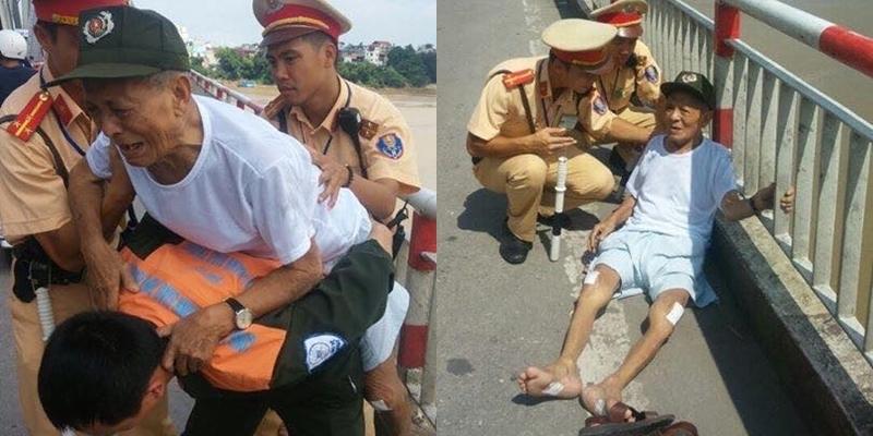 CSGT giải cứu kịp thời một cụ ông lên cầu Chương Dương tự tử 1