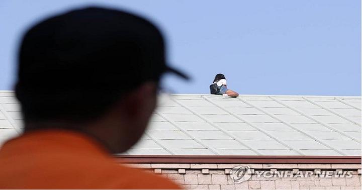 Sang Hàn Quốc gặp người yêu cũ bất thành, cô gái trèo lên nóc nhà ăn vạ 1