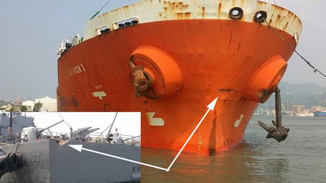 Tàu dầu Việt Nam đâm móp đuôi khu trục hạm Đài Loan 1