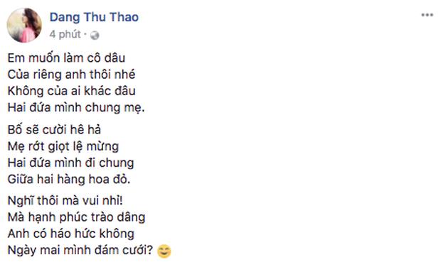 Thu Thảo gửi lời đến ông xã Trung Tín: