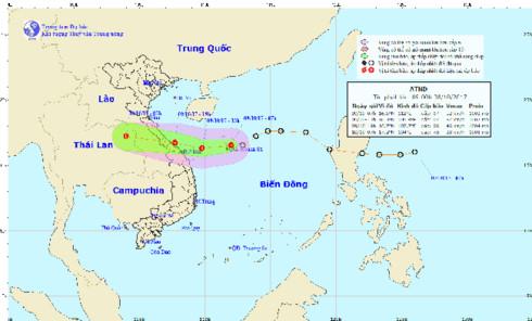 Áp thấp giật cấp 9 cách bờ biển Quảng Bình-Đà Nẵng 450km 1