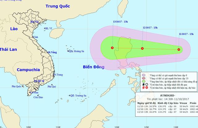 Hình ảnh Áp thấp nhiệt đới được dự đoán sẽ mạnh lên thành bão đe dọa miền Trung số 1