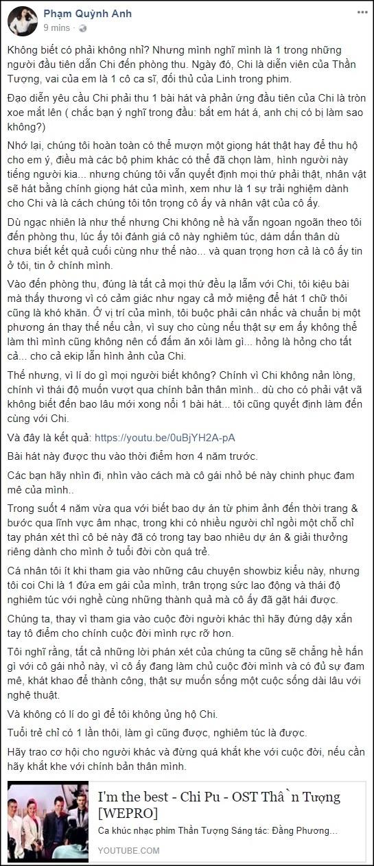 Hình ảnh Anh Thư ghét Hương Tràm vì phán xét Chi Pu đi hát số 2
