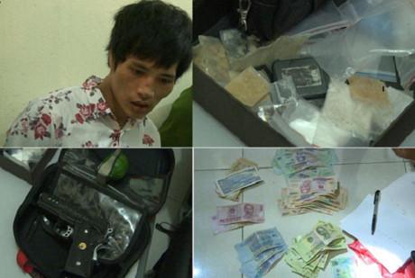 Bất khẩn cấp đối tượng buôn ma túy mang theo cả lựu đạn và súng 1