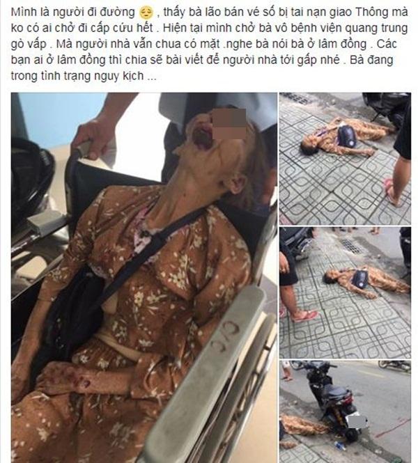 Dân mạng bức xúc trước hình ảnh cụ bà bán vé số bị tai nạn nhưng không được ai cứu giúp