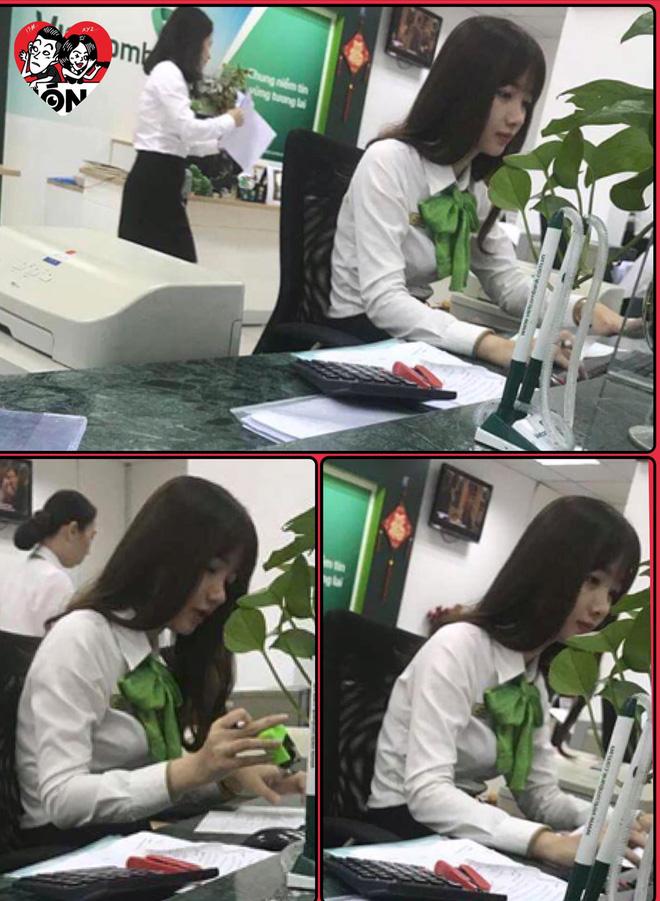 """Nữ giao dịch viên ngân hàng bị khách chụp lén rồi đăng ảnh lên Facebook nhờ """"tìm link"""" vì rất xinh 1"""
