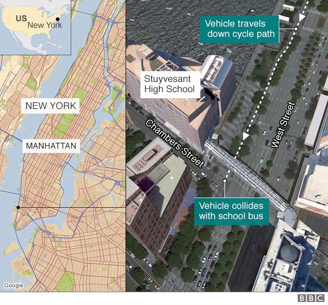 Hình ảnh Hiện trường vụ tấn công khủng bố bằng xe tải tại New York số 7