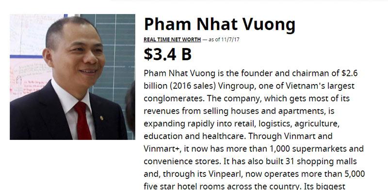 Hình ảnh Phạm Nhật Vượng trở thành người Việt giàu nhất thế giới, vượt qua Tổng thống Mỹ Donald Trump số 3