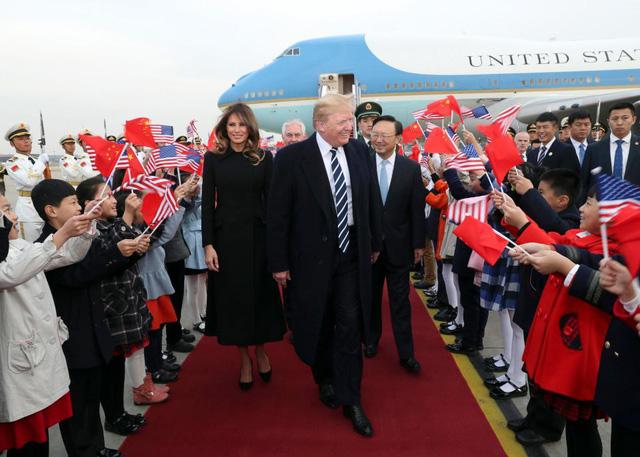 Sự khác biệt trong tấm thảm đỏ Trung Quốc dùng đón tiếp Trump 1