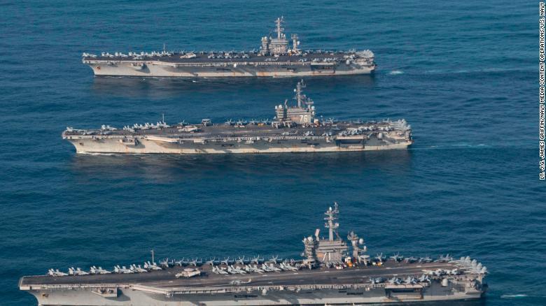 Toàn cảnh tập trận Mỹ - Hàn: 3 tàu sân bay Mỹ rầm rập tập trận sát Triều Tiên 3