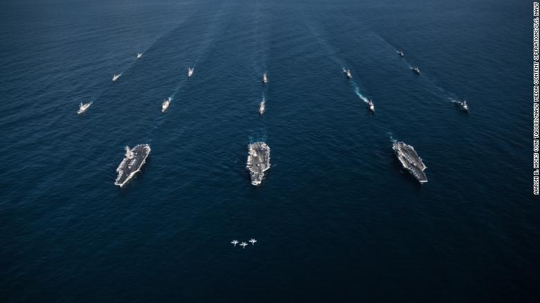 Toàn cảnh tập trận Mỹ - Hàn: 3 tàu sân bay Mỹ rầm rập tập trận sát Triều Tiên 1