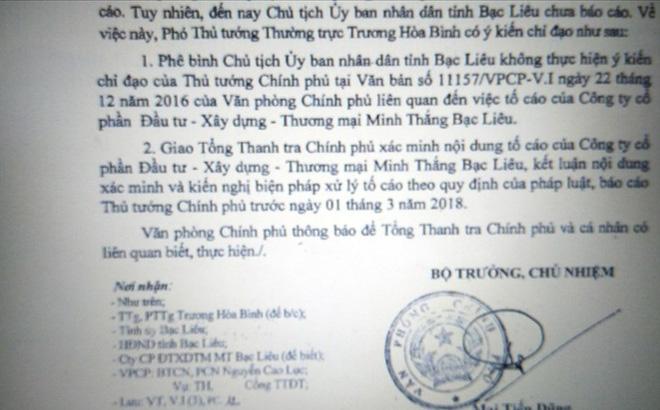 Chủ tịch Bạc Liêu bị phê bình: Tổng Thanh tra Chính phủ lên tiếng 1