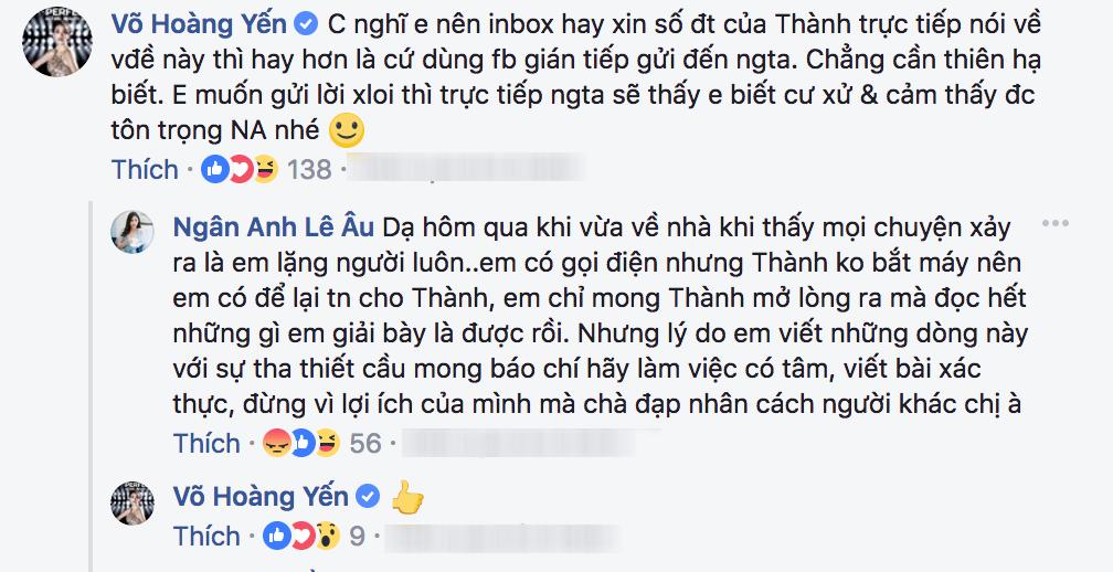 Được Võ Hoàng Yến khuyên nhủ, Ngân Anh cho biết đã chủ động liên lạc nhưng Nguyễn Thị Thành không bắt máy 1