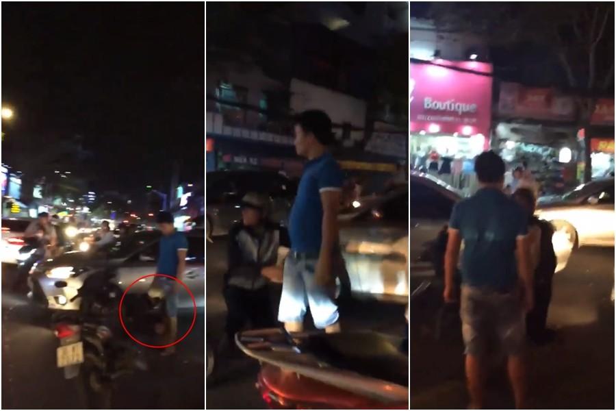 Va chạm giao thông, nam thanh niên lái xe máy bị tài xế ôtô bắt quỳ gối xin lỗi 1