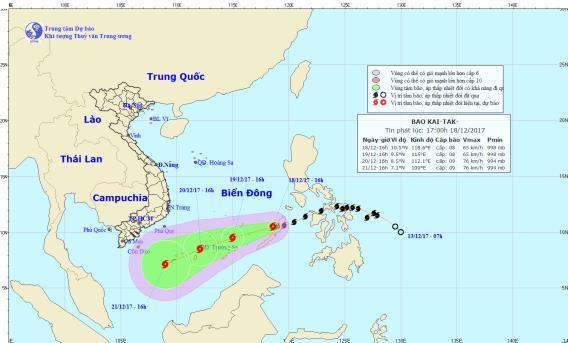 Thông tin mới nhất về diễn biến cơn bão Bão Kai-tak (bão số 15) 1