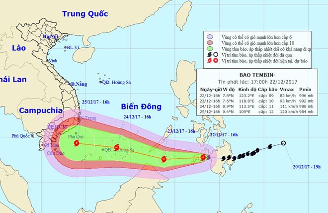 Bão Tembin áp sát Biển Đông, có nguy cơ đổ bộ vào khu vực Nam Bộ dịp Noel 1