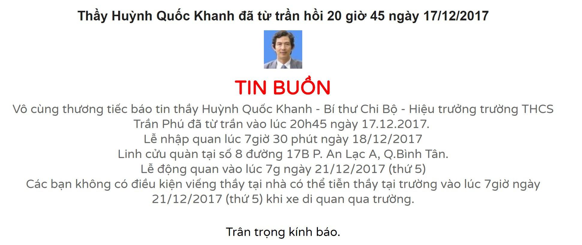 Hình ảnh xúc động: Hàng nghìn HS trường Trần Phú TP.HCM cuối đầu vĩnh biệt thầy hiệu trưởng đột ngột qua đời - Ảnh 1.