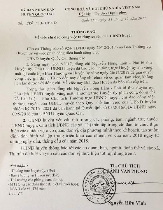 Phân công người điều hành thay Chủ tịch huyện Quốc Oai 1