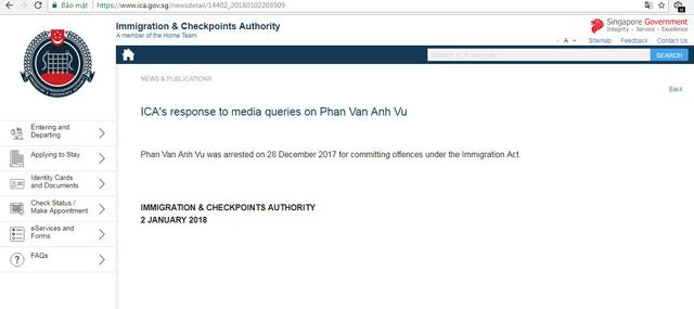 Hải quan Singapore xác nhận đang tạm giữ ông 'Phan Van Anh Vu' 1