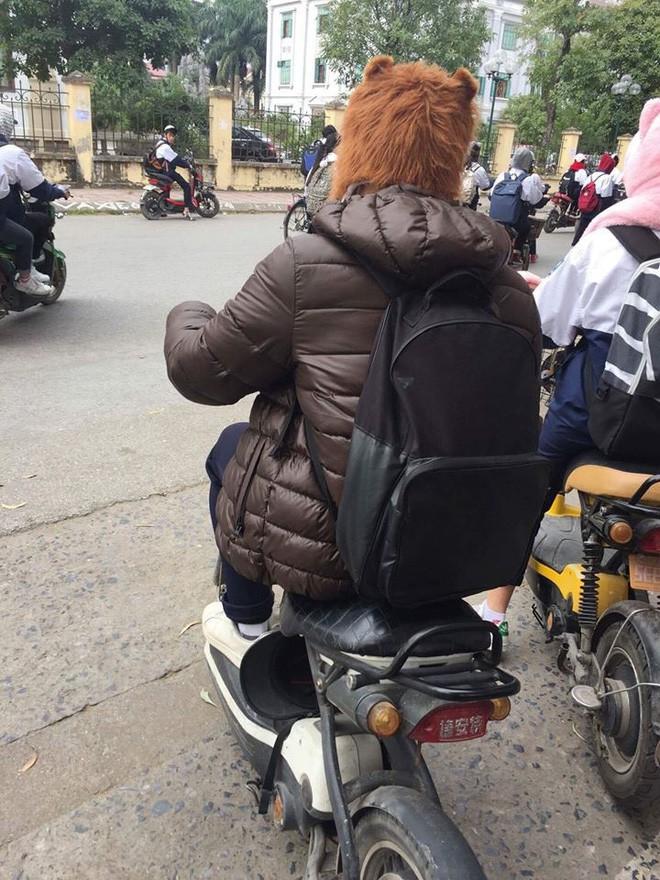 Nhiệt độ giảm sâu còn 13 độ, người Hà Nội sáng tạo đủ cách bá đạo chống rét: Trùm chăn ra đường, bịt kín cả người lẫn xe 23