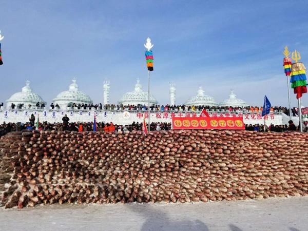 Hình ảnh Độc đáo bức tường được xây bằng 2.000 con cá giữa hồ băng số 7