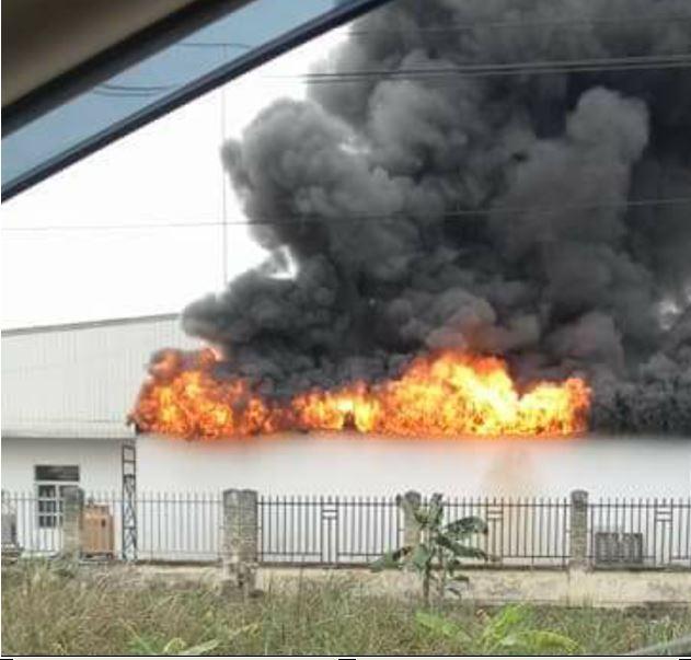 Cháy dữ dội kho hàng của công ty sản xuất đế giày ở Hải Phòng 1
