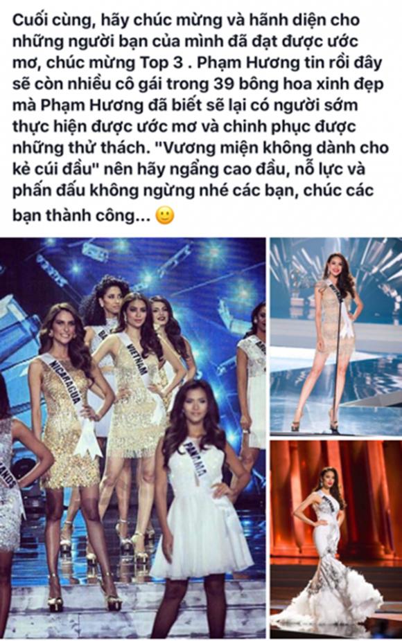Hình ảnh Phạm Hương nhắn 39 cô gái trượt giải HHHV: