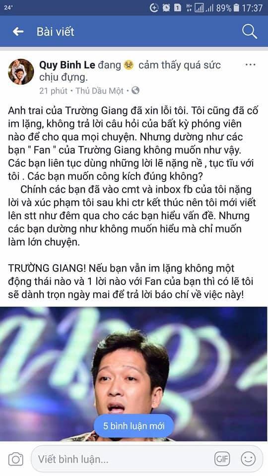 Bị xúc phạm nặng nề, MC Quý Bình cảnh báo Trường Giang 1