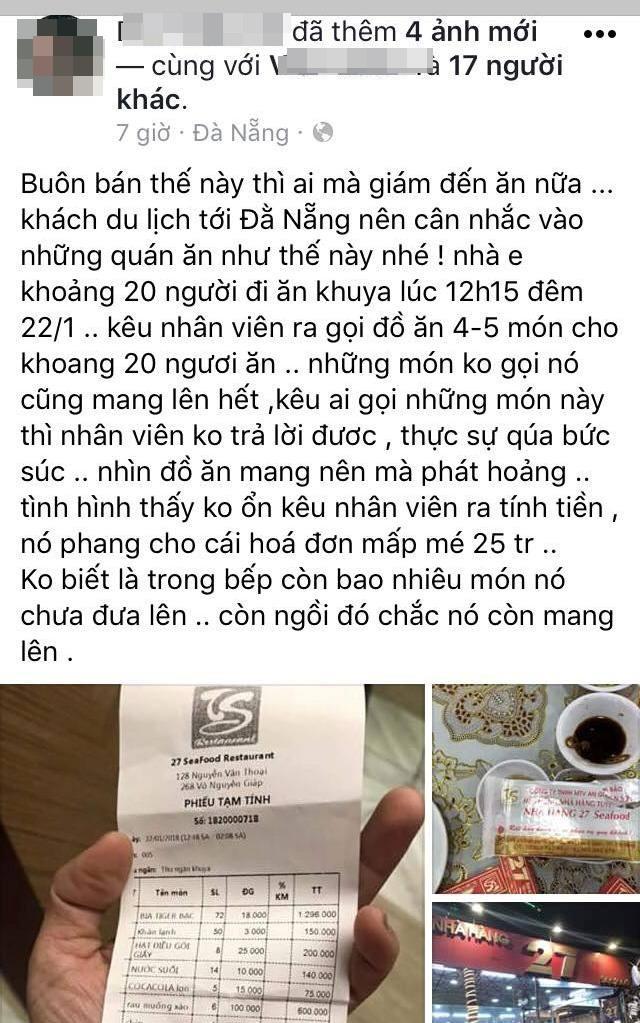 Ê kíp của ca sĩ Quang Lê tố bị chặt chém bữa ăn khuya gần 25 triệu đồng, nhà hàng ở Đà Nẵng nói gì? - Ảnh 1.